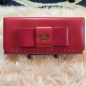 Prada Peony Pink Saffiano Leather Ribbon Wallet